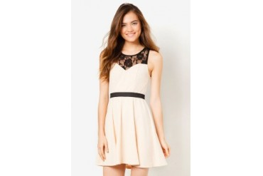 Material Girl Beige Lace Illusion Dress