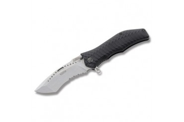 HTM Assisted Partially Serrated Gun Hammer Linerlock with Black Anodized Aluminum ETAC Handle