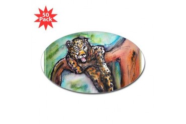 Leopard Wildlife art Art Sticker Oval 50 pk by CafePress