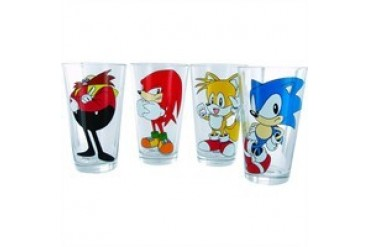 Sonic the Hedgehog Group Sonic Tails Knuckles Doctor Eggman Glass Set