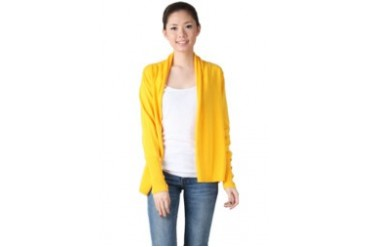 Noir Sur Blanc Ladies Card W Button At Sleeve Cardigan