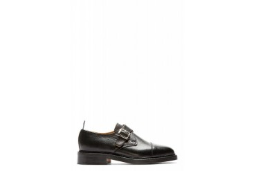 Thom Browne Black Pebbled Leather Monk Buckle Shoes