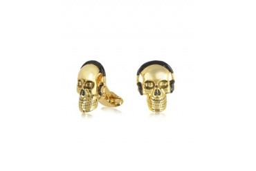 Men's Gold Skull And Headphones Cufflinks