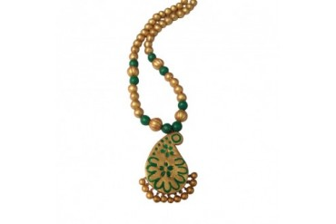 Leaf Green and Gold Hand Painted Terracotta Necklace