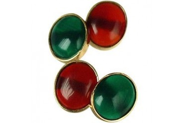 Agate and Carnelian 18K Gold Cufflinks