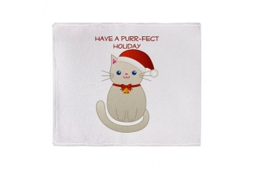 Purr-fect Holiday Stadium Blanket Cat Throw Blanket by CafePress