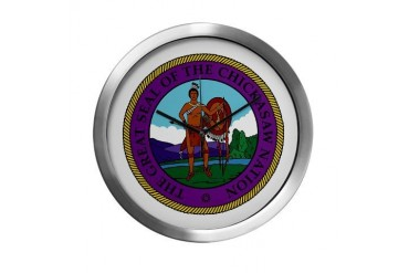 Chickasaw Nation Native american Modern Wall Clock by CafePress