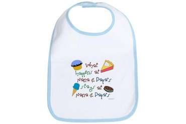 What happens at Nana Papa's stays at Nana Pap Baby boy Bib by CafePress