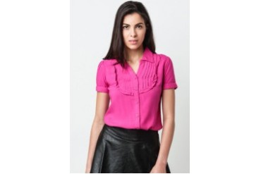 Short Sleeves Collared Blouse