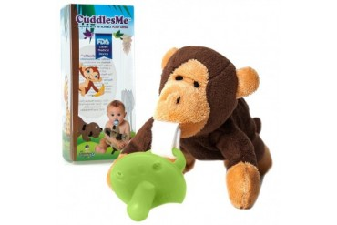 CuddlesMe Plush Monkey Toy w Detachable Pacifier Holder Baby Animal Soft