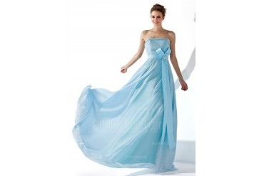 A-Line/Princess Strapless Floor-Length Chiffon Satin Evening Dress With Ruffle Beading Crystal Brooch (017013770)
