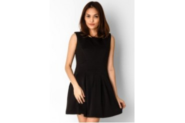 Chic Simple Combo Texture Mini Dress With Exposed Zip At Back
