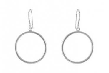 925 Sterling Silver Circle Shaped Earrings 20.75 MM