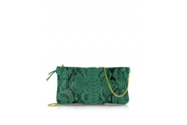 Python Leather Clutch w/ Golden Chain Strap