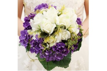 Attractive Round Satin/Ribbon Bridal Bouquets (123047799)