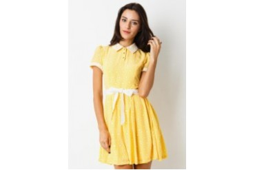 Voerin Fiona Print Lace Yellow Mini Dress