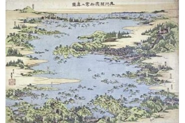 Map of Shiogama and Matsushima In Oshu Poster Print by Hokusai (20 x 28)