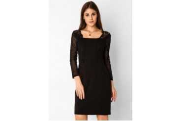 Urban Twist Square Neckline With Lace Mini Dress