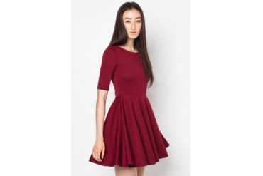 EZRA BASICS by ZALORA Basic 1/2 Sleeve Skater Dress