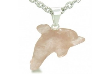 Lucky Dolphin Healing Rose Quartz Love Amulet 18 Inch Necklace