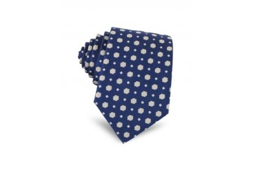 Geometric Pattern Woven Silk Narrow Tie