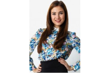Dear Laura Power Flower Peter Pan Collar Blouse