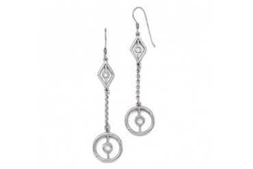 Long Geometric Chain Dangle Earrings in Sterling Silver