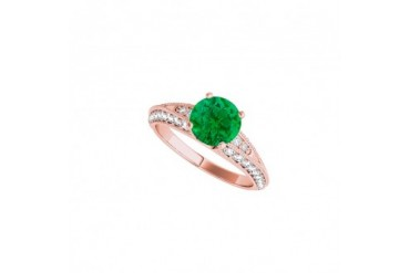 Emerald CZ Engagement Ring in 14K Rose Gold Vermeil