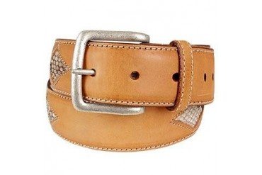 Snake Stamped Inserts Caramel Italian Leather Belt
