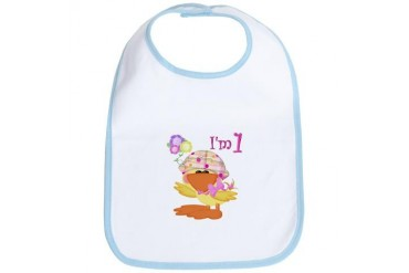 1st birthday baby girl duck Cute Bib by CafePress