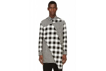 D.gnak By Kang.d Black And White Oblique Checkered Shirt