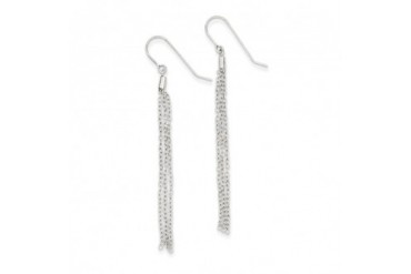 Long Diamond-cut Tassel Earrings in 14 Karat White Gold