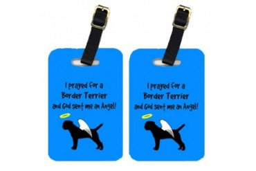 Pair of 2 Border Terrier Luggage Tags
