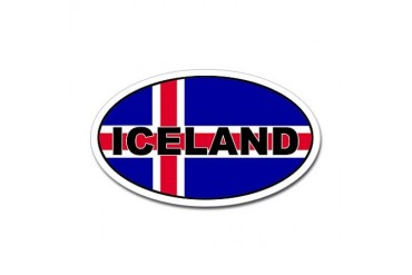 Iceland Flag Oval Sticker Flag Sticker Oval by CafePress