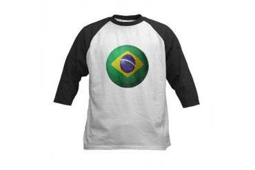 Brazil Soccer Sports Kids Baseball Jersey by CafePress
