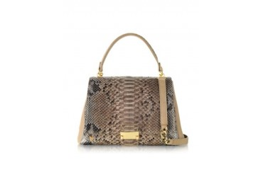 Beige Python and Nappa Leather Satchel Bag