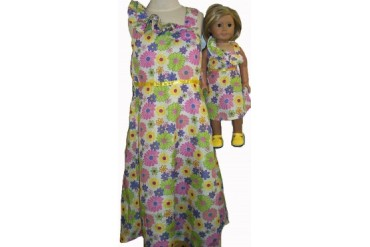 Matching Girl Doll Clothes Glitter Flowers Size 4