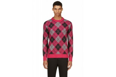 Saint Laurent Pink And Grey Mohair Argyle Sweater