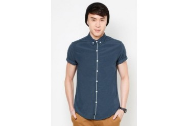 Long Sleeve Oxford Shirt With Contrast Panel