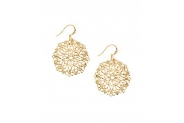 Tudor Round Filigree Swirl Earrings Gold