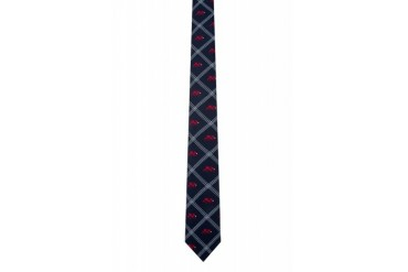 Thom Browne Navy And Red Jacquard Bear Tie