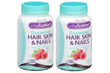 Vitafusion Gorgeous Hair Skin amp Nails Multivitamin Gummies 2 Bottle Pack