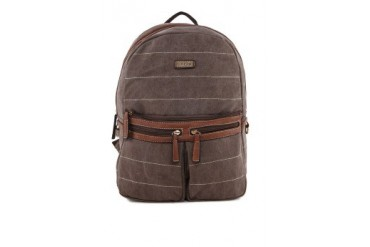 Unisa PU Trimmed Canvas Backpack with Top Zip Closure