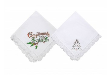 Merry Merry Christmas Handkerchief with Crochet Trim Set of 2