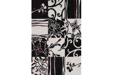 Dalyn Studio Modern Black Checked Checkered Contrast Floral Lines Area Rug