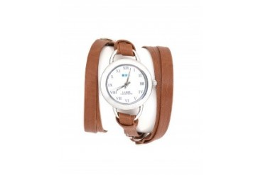 La Mer Saturn Leather Wrap Watch Brown