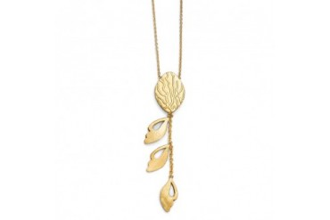 Brushed and Textured Leaf Adjustable Necklace in 14K Yellow Gold