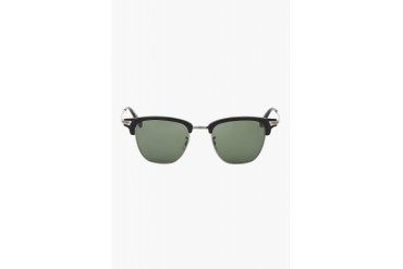 Oliver Peoples Black And Pewter Banks Sunglasses