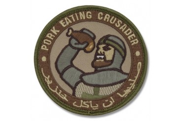"Mil-Spec Monkey ""Pork Eating Crusader"" Patch - Arid Camo Pattern"