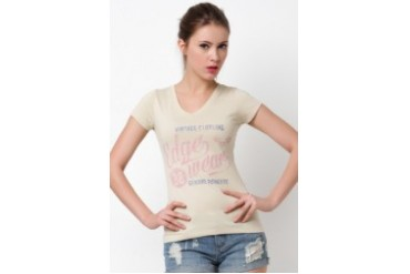 Basic V-Neck Printed T-shirt